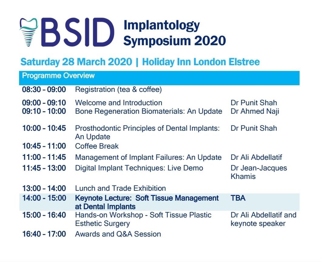 BSID Implantology Symposium 2020 Programme